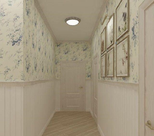 Если применяются бумажные обои, то нижнюю часть стен обычно закрывают другим, более износостойким материалом