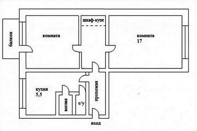 Квартира после одного из вариантов перепланировки – дополнительный коридор-кладовка и полностью изолированные жилые комнаты