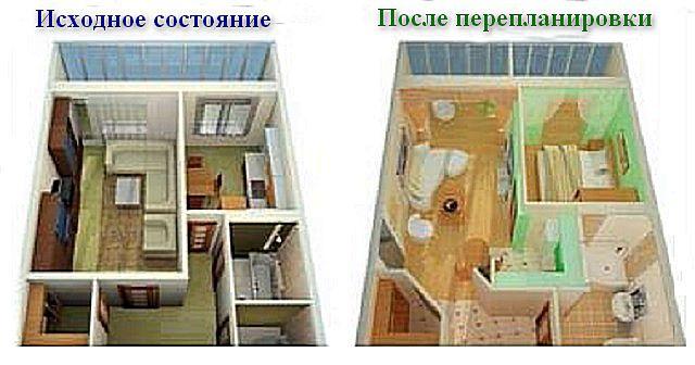 Уборная и ванная объединены в один санузел, который даже получил дополнительную площадь за счет коридора