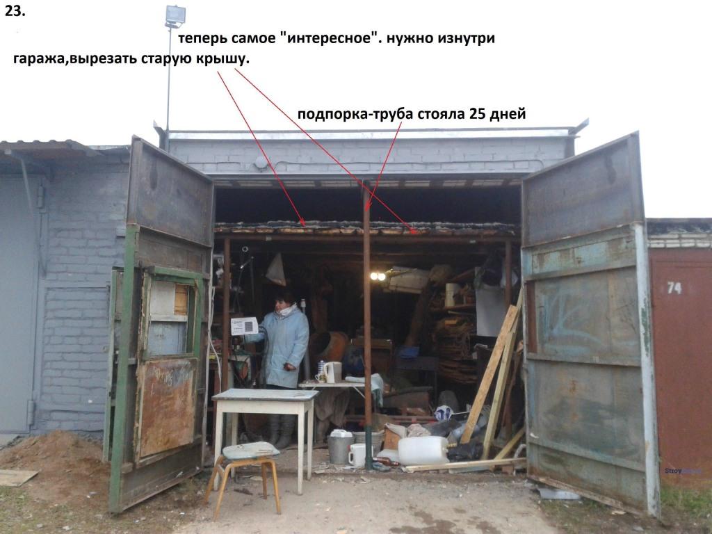 Вырезаем старую крышу изнутри