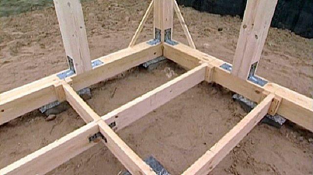 Для планируемого дощатого пола необходим монтаж лаг, с закреплением на брусья нижней обвязки и с упором на промежуточные столбы.
