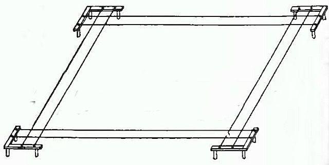Принцип разметки под фундамент с помощью обносок и растянутых между ними шнуров.