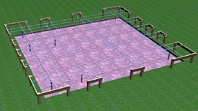 Для столбчатого фундамента придется дополнительно наметить точки пересечения линий – места установки опор.