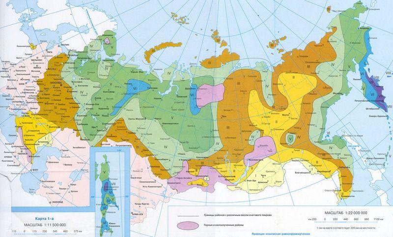 Карта-схема распределения территории России по зонам в зависимости от уровня снеговой нагрузки