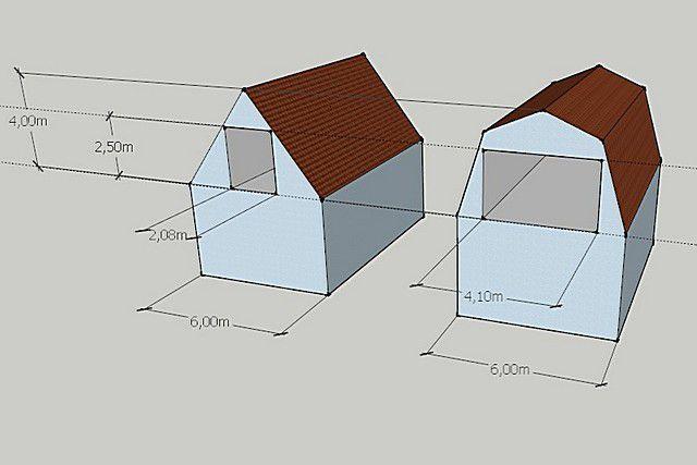 Сравнение «полезной вместимости» мансардного помещения в домах с крышей обычного двускатного и ломаного типа