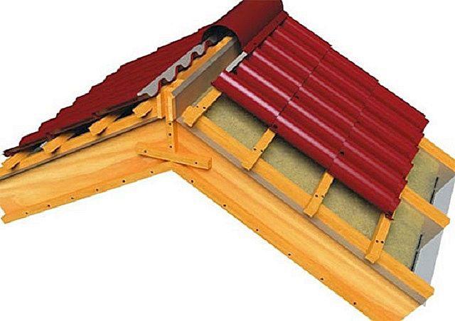 Вариант обустройства конькового узла при использовании металлочерепицы