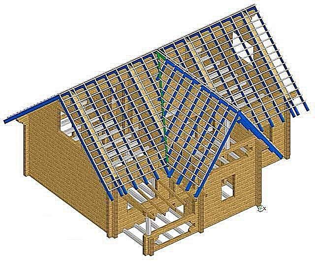 Одна из не самых сложных конструкций – дом с небольшой пристройкой на входе. Коньки обоих отделов крыши расположены на одной высоте.