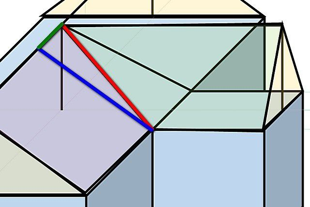 Накосная стропильная нога является гипотенузой прямоугольного треугольника, длины катетов которого несложно промерить или рассчитать
