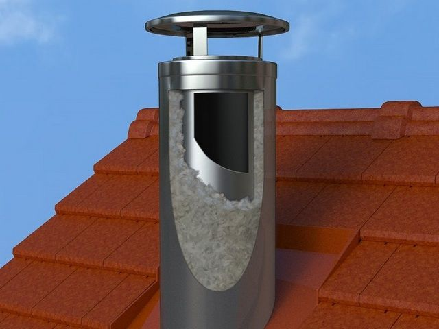 Монтаж дымохода из сэндвич труб через крышу