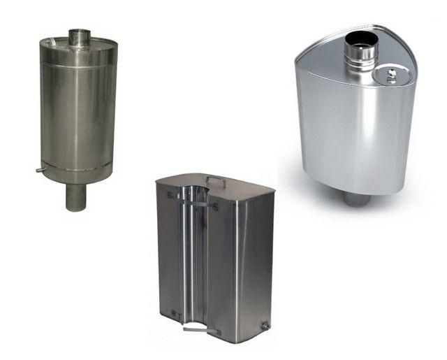 Различные типы водяных баков для установки в составе системы дымохода