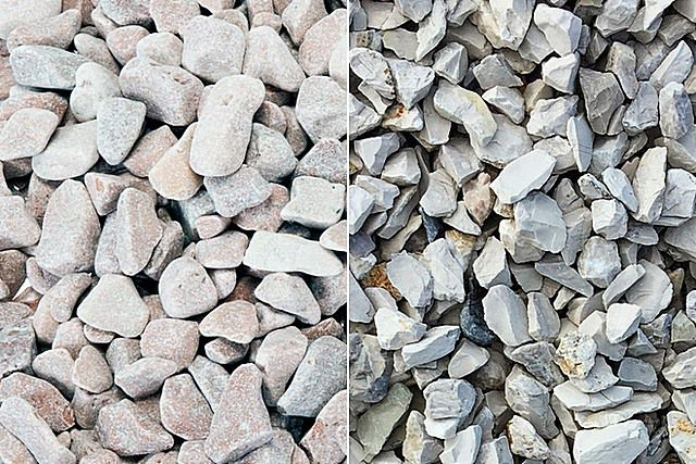 Гравий (слева) и щебень – обязательные заполнители для изготовления бетонного раствора под заливку фундаментов
