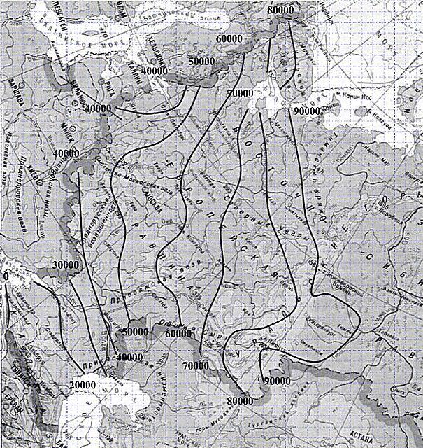 Карта для определения «индекса мороза» для своего региона проживания. Всё, что восточнее – также принимается ИМ≥90000