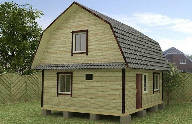 На стабильных грунтах дом из бруса может быть выстроен и на столбчатом фундаменте