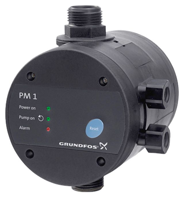 Блок управлением насосом Grundfos PM 1. Объединяет и реле давления, и датчик сухого хода, и защиту от гидроударов