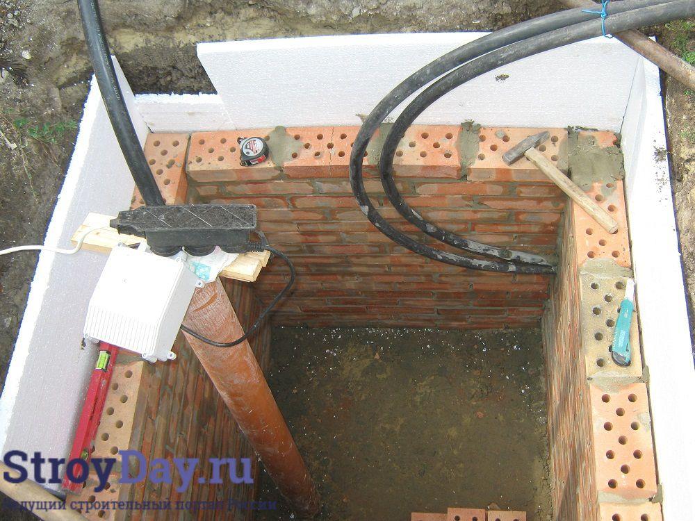 Фото 5. Процесс утепления стен колодца