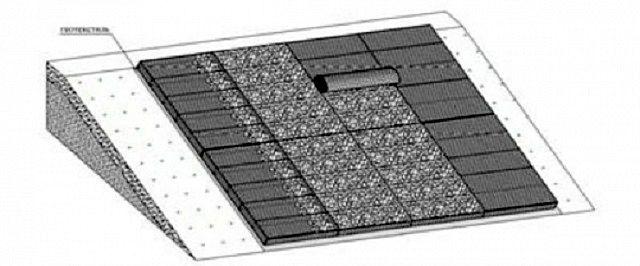 При закрытии габионной «матрасной» конструкции на склоне рекомендуется крышку делать из цельных полос сетки сверху донизу.