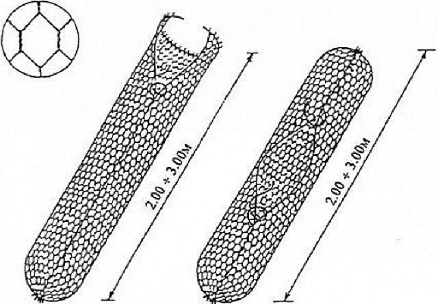Два варианта увязки цилиндрического габиона. В любом случае оставляется «окно» для укладки камней, которое окончательно заделывается на завершающем этапе сборки