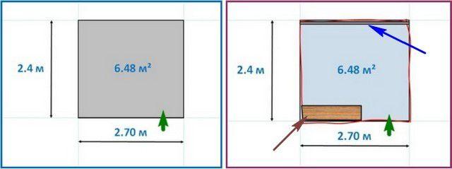 Примерный план комнаты, в которой проводились работы (слева – «чистый» размер, справа – с нюансами)