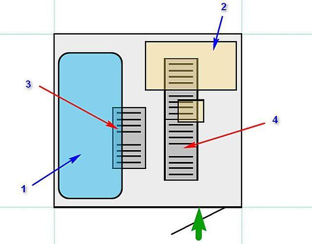 Подогрев пола спланирован вот с таким расположением: 1 – кровать, 2 – письменный стол, 3 и 4 – пленочные обогреватели