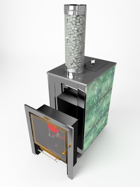 Газовая банная печь «КУТКИН» с эксклюзивной отделкой природным камнем