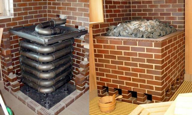 Одна из самых небольших в своей линейке газовая печь «Kusatherm» после установки (слева) и после возведения кирпичных экранов