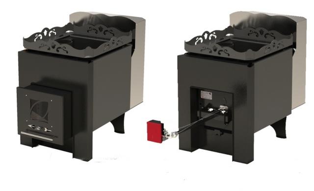 …и, в зависимости от установленного модуля, становится или твердотопливной, или газовой