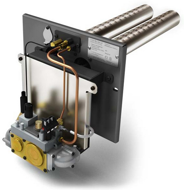 Отечественная газовая горелка «Сахалин» на базе автоматической системы известной итальянской компании «SIT». Оснащена блоком автоматики (может быть полностью энергонезависимым), встроенным редуктором, системой автоматического пьезорозжига.