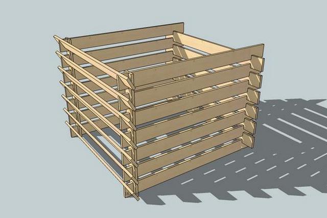 Недостаток показанной выше модели можно устранить, если одну из стенок выполнить из съемных досок