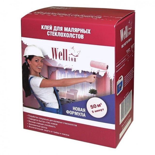 Сухая клеевая смесь «Wellton» — универсальна, просто необходимо правильно развести ее под конкретный применяемый тип стеклохолста