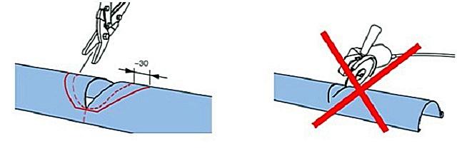 Все резы металлических деталей водосточных систем должны производиться либо ножовкой, либо ножницами. Применение шлифмашинки ведет к потере защитным покрытием своих антикоррозионных качеств