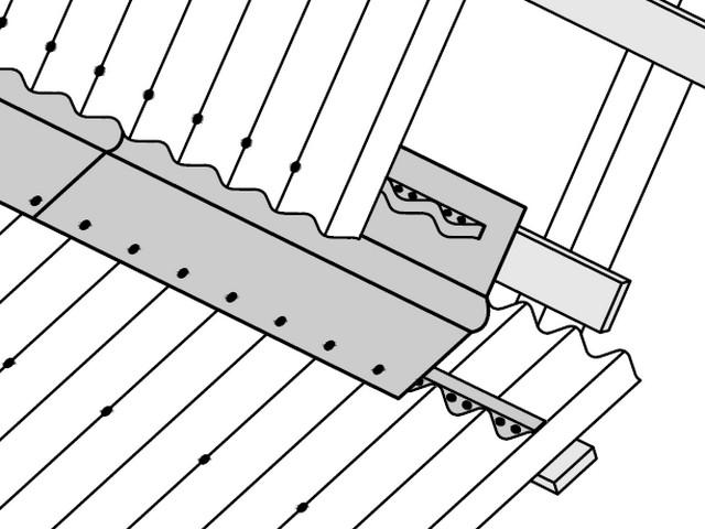 Оформление перелома ската с внутренним углом