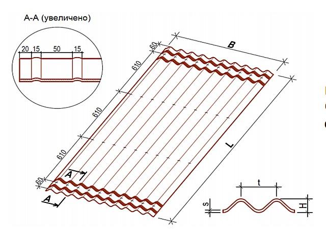 Схема-чертеж стандартного кровельного листа « ОНДУЛИН SMART»