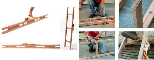 Схема и принцип использования простой по конструкции складной лестницы.