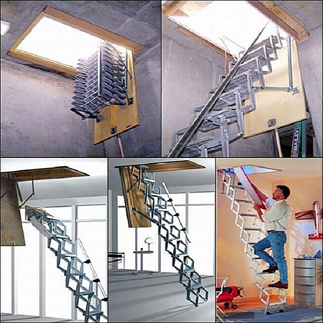 Складная металлическая чердачная лестница ножничного типа. Весьма сложная конструкция, и браться за ее самостоятельное изготовление – вряд ли оправдано