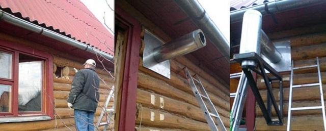 Вывод дымоходной сэндвич-трубы через стену деревянного дома