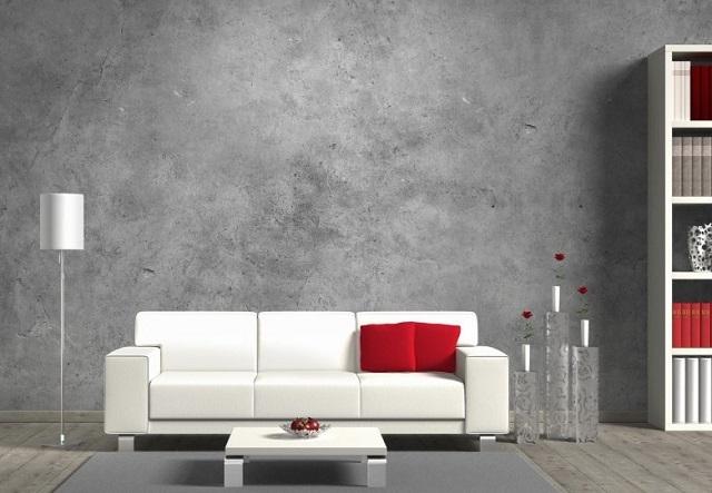 Яркие белые и красные пятна на сером цементном фона – весьма оригинальное решение отделки помещения